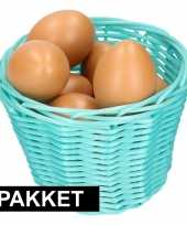 Feest turquoise paasmandje met eieren naturel 14 cm