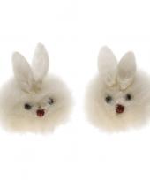 Feest twee witte haasjes 3 x 3 5 x 2 5 cm