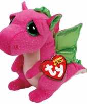 Feest ty beanie knuffel roze draak 15 cm