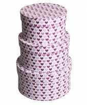 Feest valentijn rond kado doosje hartjes paars 16 cm