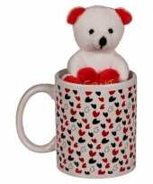 Feest valentijnscadeau beker met knuffelbeer