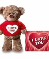 Feest valentijnskaart en knuffelbeer 24 cm met i love you rood shirt