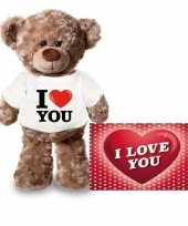 Feest valentijnskaart en knuffelbeer 24 cm met i love you shirt
