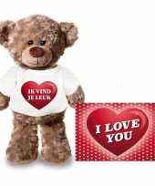Feest valentijnskaart en knuffelbeer 24 cm met ik vind je leuk shirt