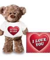 Feest valentijnskaart en knuffelbeer 24 cm met ik vind je lief shirt