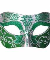 Feest venetiaans glitter oogmasker groen zilver