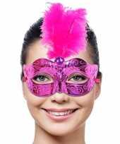 Feest venetiaans masker met roze veer