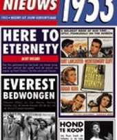 Feest verjaardag kaart met nieuws uit 1953
