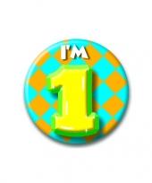 Feest verjaardags button i am 1