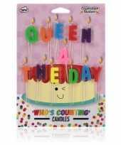 Feest verjaardagskaarsjes queen for the day