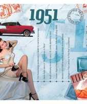 Feest verjaardagskaart met muziekhits uit 1951