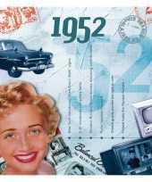 Feest verjaardagskaart met muziekhits uit 1952
