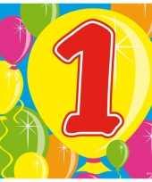Feest verjaardagsversiering 1 jaar servetjes