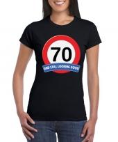 Feest verkeersbord 70 jaar t-shirt zwart dames