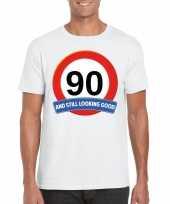 Feest verkeersbord 90 jaar t-shirt wit heren