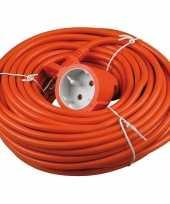 Feest verlengsnoer kabel oranje 20 meter binnen buiten