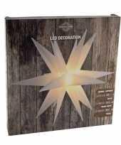 Feest verlichte kunststof kerstster lampion wit 35 cm op batterijen