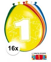 Feest versiering 1 jaar ballonnen 30 cm 16x sticker