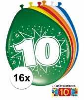Feest versiering 10 jaar ballonnen 30 cm 16x sticker
