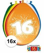 Feest versiering 16 jaar ballonnen 30 cm 16x sticker
