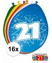Feest versiering 21 jaar ballonnen 30 cm 16x sticker