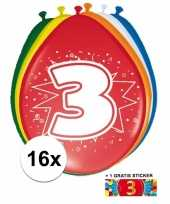 Feest versiering 3 jaar ballonnen 30 cm 16x sticker