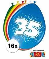 Feest versiering 35 jaar ballonnen 30 cm 16x sticker