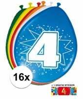 Feest versiering 4 jaar ballonnen 30 cm 16x sticker