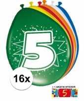 Feest versiering 5 jaar ballonnen 30 cm 16x sticker