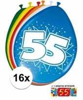 Feest versiering 55 jaar ballonnen 30 cm 16x sticker