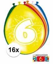 Feest versiering 6 jaar ballonnen 30 cm 16x sticker