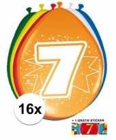 Feest versiering 7 jaar ballonnen 30 cm 16x sticker