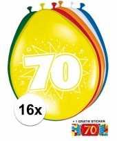 Feest versiering 70 jaar ballonnen 30 cm 16x sticker