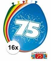 Feest versiering 75 jaar ballonnen 30 cm 16x sticker