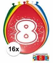 Feest versiering 8 jaar ballonnen 30 cm 16x sticker