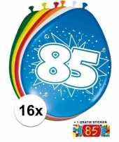 Feest versiering 85 jaar ballonnen 30 cm 16x sticker