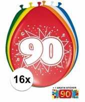 Feest versiering 90 jaar ballonnen 30 cm 16x sticker