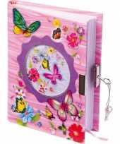 Feest vlinder dagboek met slot