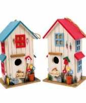 Feest vogelhuisje set van 2 rood en blauw