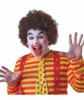 Feest voordelige bruine clownspruik voor volwassenen