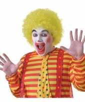 Feest voordelige gele clownspruik voor volwassenen