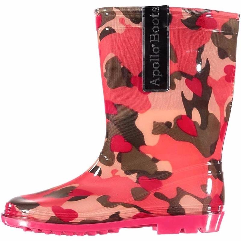 Feest voordelige meiden regenlaarzen roze camouflage