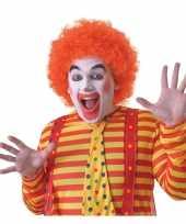Feest voordelige oranje clownspruik voor volwassenen