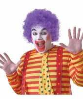 Feest voordelige paarse clownspruik voor volwassenen