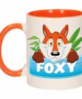 Feest vossen theebeker oranje wit foxy 300 ml