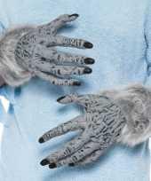 Feest weerwolf handschoenen grijs met nepbont voor volwassenen