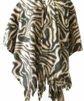 Feest winter poncho omslagdoek zebraprint