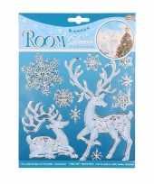 Feest winterse raamdecoratie hert en sneeuwvlok