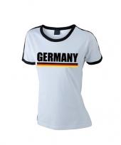 Feest wit zwart duitsland supporter ringer t-shirt voor dames