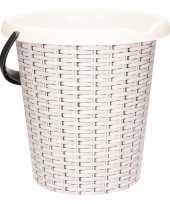 Feest witte emmer met rotan print 12 liter